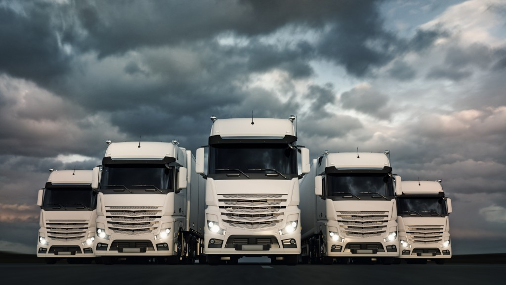 Heroic or epic fleet of semi-trucks and trailers.