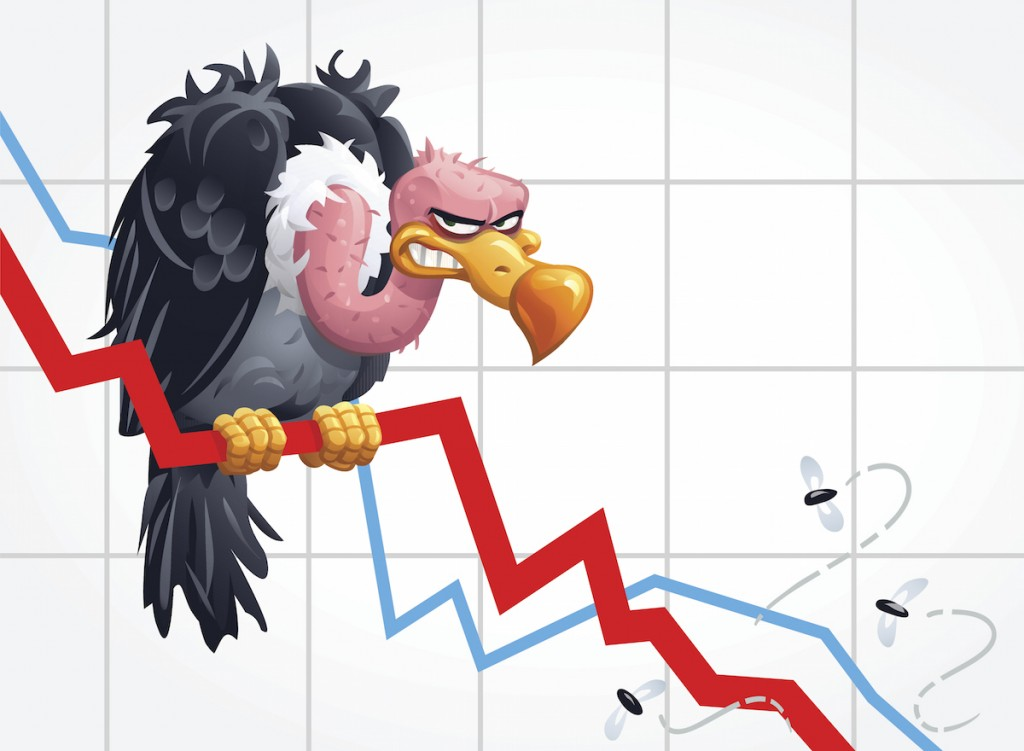 Illustration of a vulture sitting on a falling graph. Concept for vulture capitalists, economic crisis, recession, bankruptcy and insolvency.